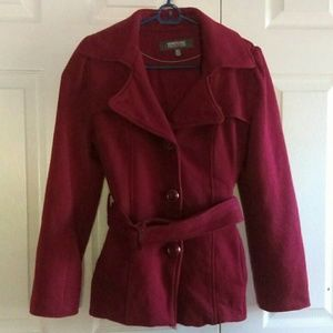 Kenneth Cole Reaction red belted pea coat